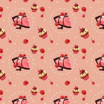 Süßes erdbeerkuchen-muster-design