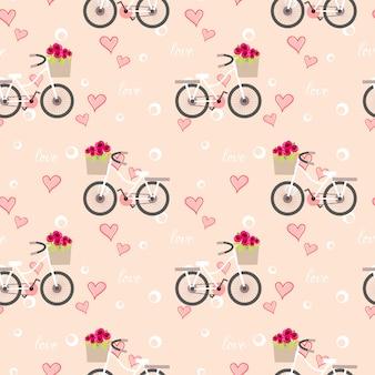 Süßes fahrrad mit nahtlosem muster der blume.