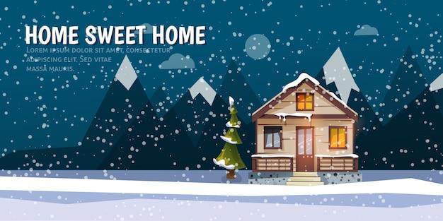 Süßes familienhaus zwischen bergen. ein winterbanner im flachen stil. miete des hauses.