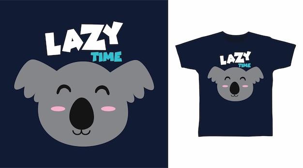 Süßes faules koala-t-shirt-druckdesign
