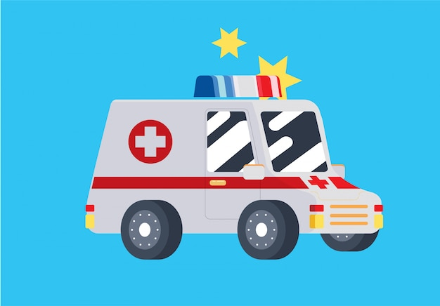 Süßes flaches krankenwagenauto