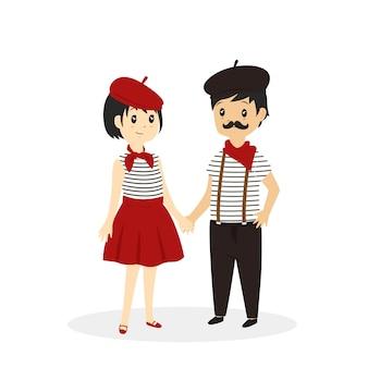 Süßes französisches paar. französische madame und monsieur karikatur