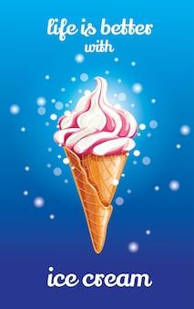 Süßes frisches gefrorenes eis im waffelkegel mit roter rosa erdbeer- oder kirsch-weicher sahne oder sirup lokalisiert über blauem hintergrund. illustration für webdesign oder druck