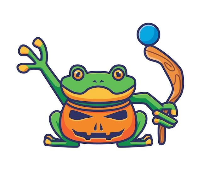 Süßes froschkostüm mit kürbis. isolierte cartoon-tier-halloween-illustration. flacher stil geeignet für sticker icon design premium logo vektor. maskottchen-charakter
