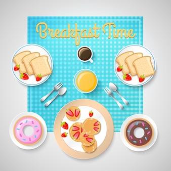 Süßes frühstücksnahrungsmittelkonzept mit leckeren mahlzeiten und heißem kaffee für zwei personenillustration