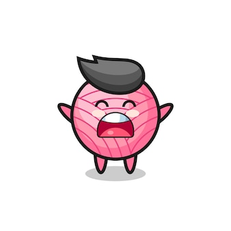 Süßes garnball-maskottchen mit einem gähnen-ausdruck, süßes stildesign für t-shirt, aufkleber, logo-element