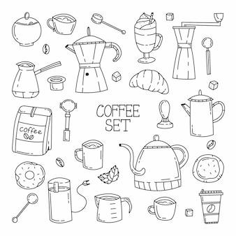 Süßes gekritzel-set mit kaffee und kaffeezubehör