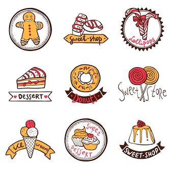 Süßes geschäft embleme etiketten gesetzt