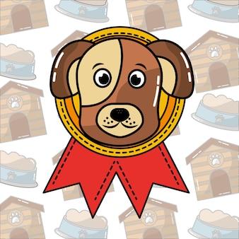 Süßes gesicht hund in rosette medaille preis