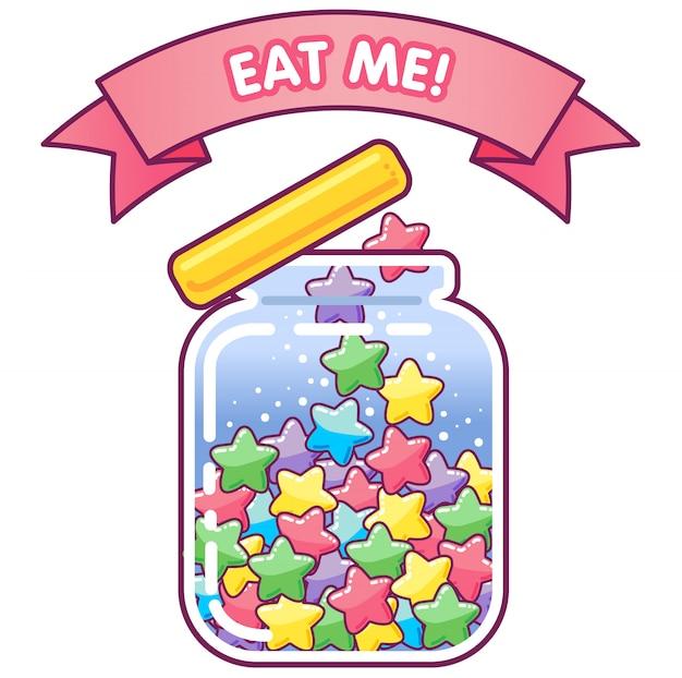 Süßes glas mit sternförmigen bonbons