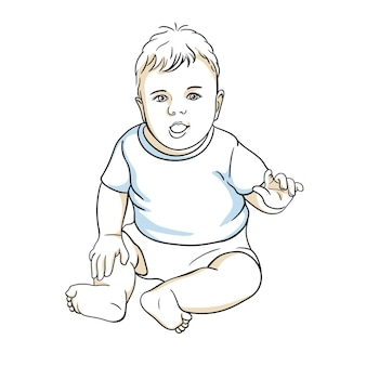 Süßes glückliches baby in einer windel