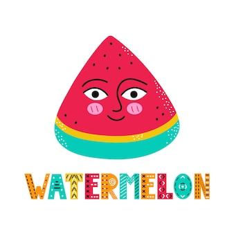 Süßes glückliches lächeln wassermelonenfrucht