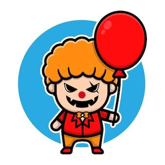 Süßes gruseliges clown-charakter-vektordesign