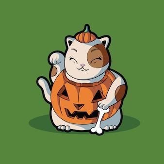 Süßes halloween-kostüm mit katzenkürbis