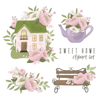 Süßes hauptkonzept mit haus, bank, teekanne und blumen