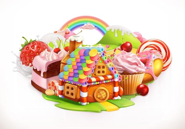 Süßes haus. süßwaren- und dessertillustration