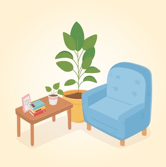Süßes heimsofa bucht topfpflanzenrahmen auf tisch