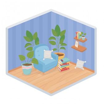 Süßes heimsofa mit kissen topfpflanzen regal bücher isometrischen stil