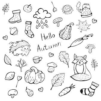 Süßes herbst-doodle-set mit eicheln hallo herbst