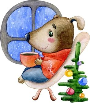 Süßes hündchen der aquarellwinterweihnachtsillustration im roten pullover, der tee durch das fenster trinkt