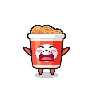 Süßes instant-nudel-maskottchen mit einem gähnen-ausdruck, süßes stildesign für t-shirt, aufkleber, logo-element