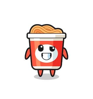 Süßes instant-nudel-maskottchen mit optimistischem gesicht, süßes design für t-shirt, aufkleber, logo-element