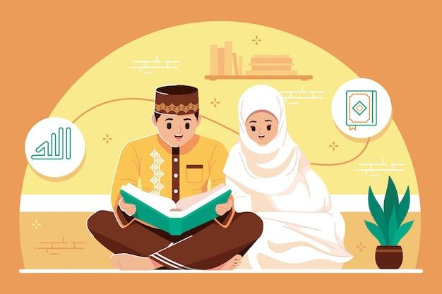 Süßes islamisches paar, das zusammen einen koran liest