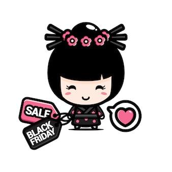 Süßes japanisches mädchen mit schwarzem freitagsrabatt