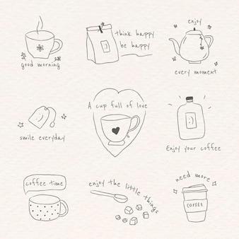 Süßes kaffee-doodle-tagebuch-set