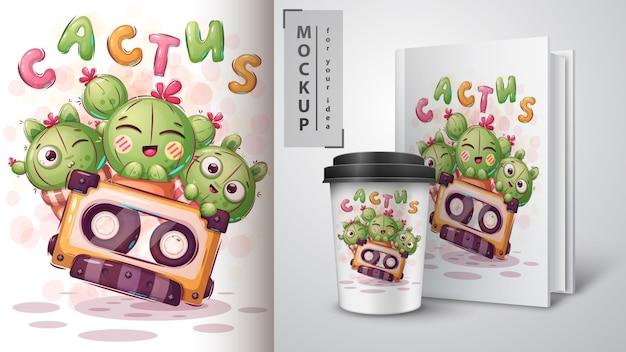 Süßes kaktusplakat und merchandising