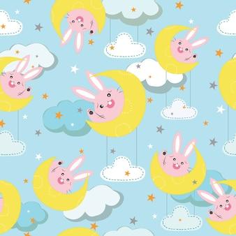 Süßes kaninchen auf dem mond cartoon nahtlose muster.