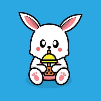 Süßes kaninchen, das boba-tee trinkt
