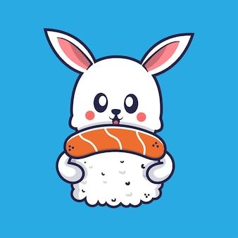 Süßes kaninchen, das sushi-cartoon-illustration umarmt