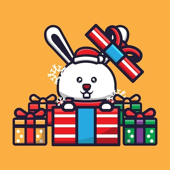 Süßes kaninchen, das weihnachten feiert