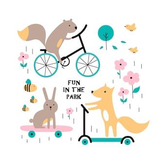 Süßes kaninchen, eichhörnchen, fuchs