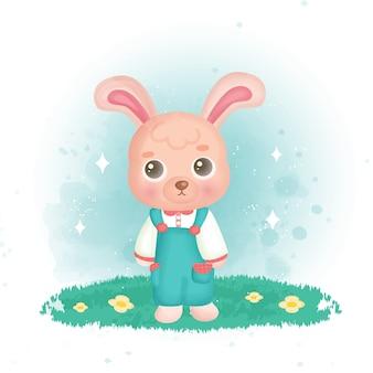 Süßes kaninchen im garten.