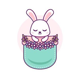 Süßes kaninchen in der tasche Premium Vektoren