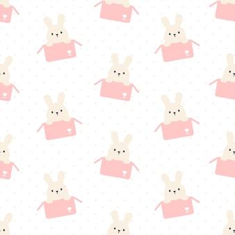 Süßes kaninchen in einem kasten nahtloses sich wiederholendes muster, tapetenhintergrund, niedlicher nahtloser musterhintergrund
