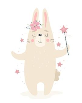Süßes kaninchen mit einem zauberstab. illustration in einem flachen stil.