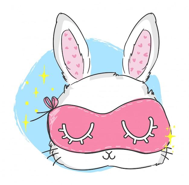 Süßes kaninchen mit einer maske zum schlafen. hand gezeichnete illustration