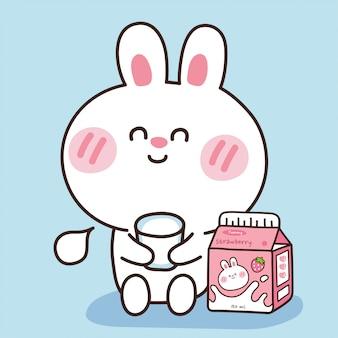 Süßes kaninchen mit milchkiste.