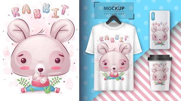 Süßes kaninchenposter und merchandising