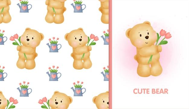 Süßes karikatur-teddybär nahtloses muster