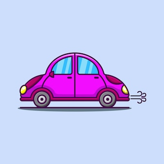 Süßes karikaturauto in der rosa illustration