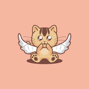 Süßes katzen-cosplay für halloween-engel