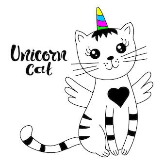 Süßes katzen-einhorn