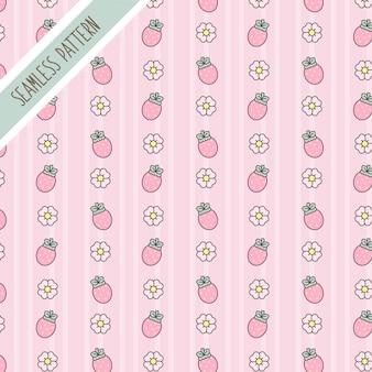 Süßes kawaii blumen- und erdbeer nahtloses muster