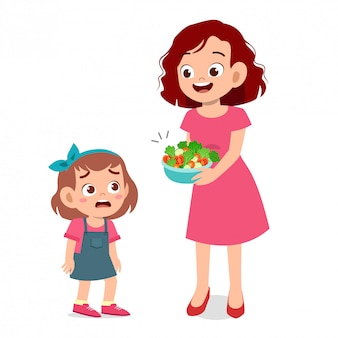 Süßes kind will keinen salat