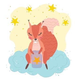 Süßes kinderposter: eichhörnchen auf einer wolke, kleine sterne. gezeichnete illustration des vektors hand. kindergarten-poster.