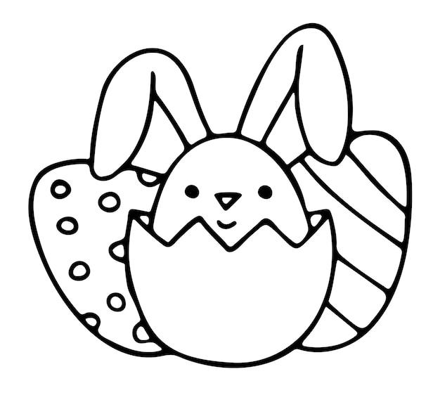 Süßes kleines kaninchen schaut aus eierschale
